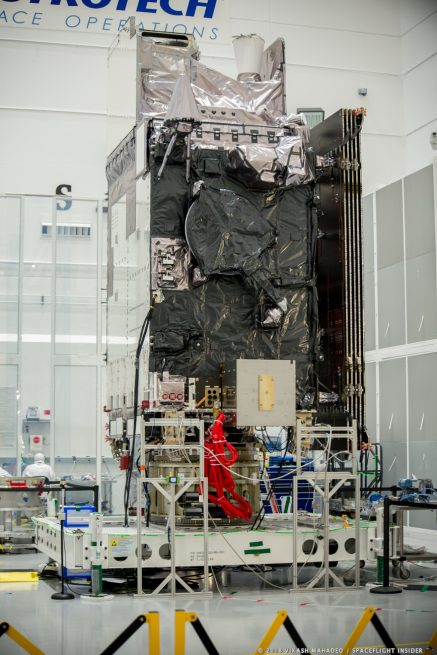 The GOES-S satellite is prepared for encapsulation at Astrotech Space Operations. Photo Credit: Vikash Mahadeo / SpaceFlight Insider