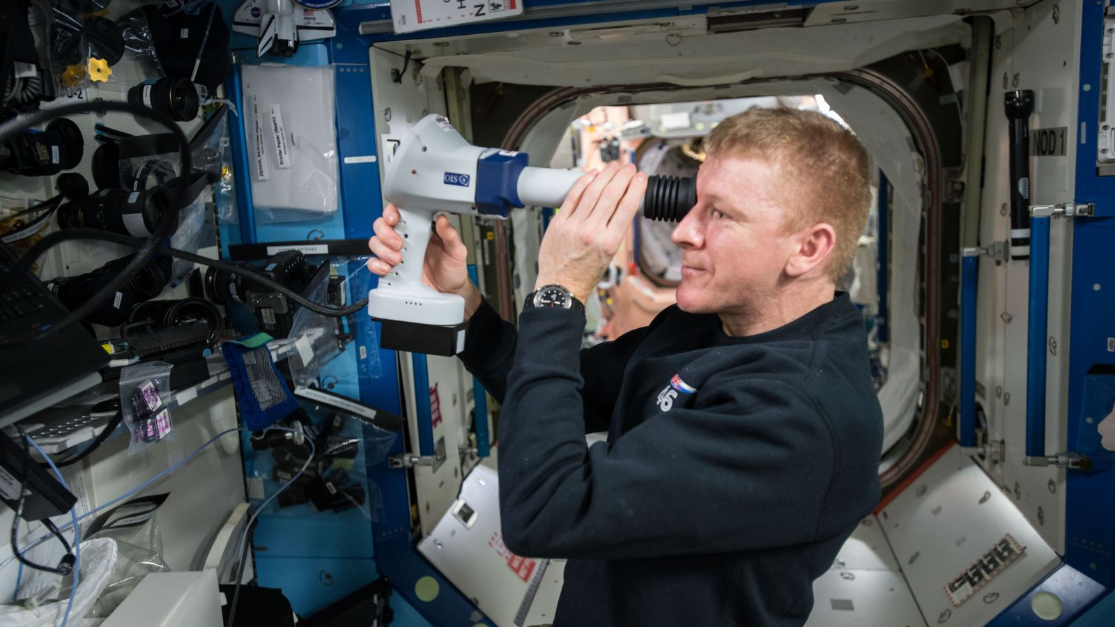 European Space Agency astronaut Tim Peake performs an exam on his eye as part of the ocular health study. This research will help in understanding why some astronauts and cosmonauts have vision problems after long-duration spaceflight. Photo Credit: NASA