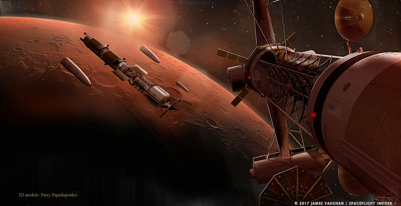 Crewed Mars spacecraft in orbit the Red Planet. Image Credit: James Vaughan / SpaceFlight Insider