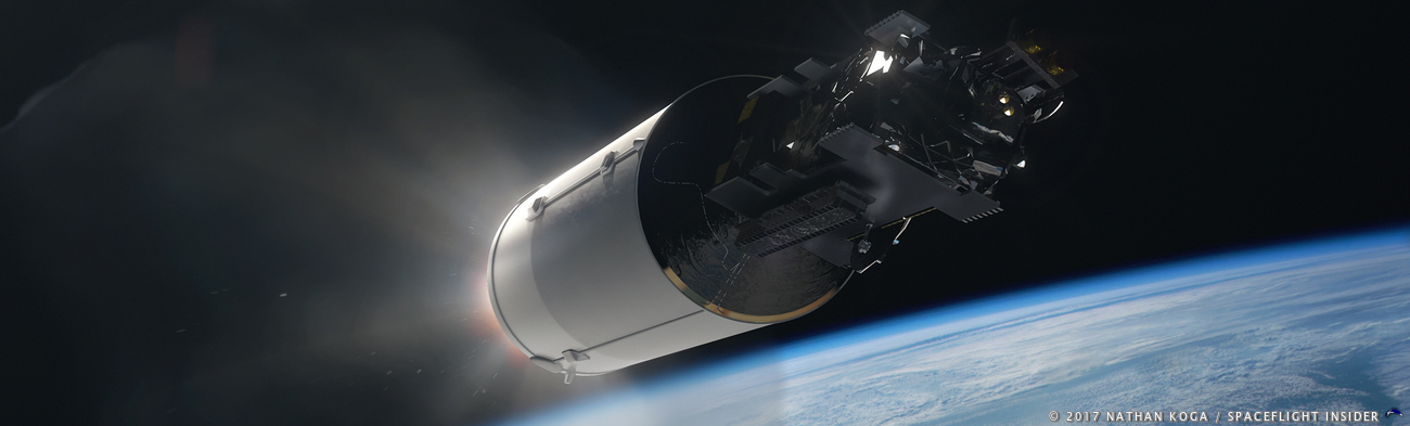 Artist's depiction of Arabsat-6A affixed to the Falcon Heavy's second stage. Image Credit: Nathan Koga / SpaceFlight Insider