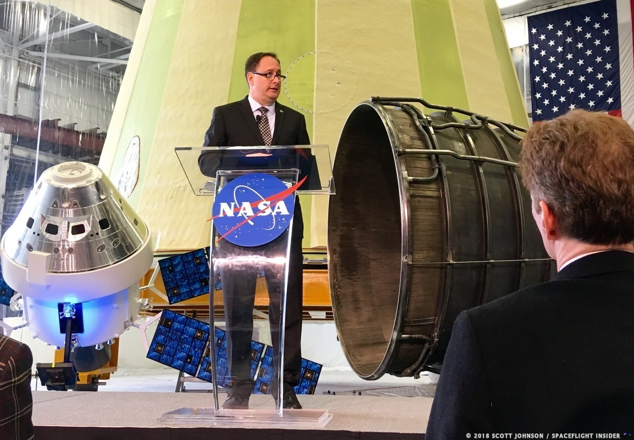 Acting NASA Administrator Robert Lightfoot discusses the fiscal year 2019 budget proposal during a State of NASA address Monday, Feb. 12, 2018 at NASA's Marshall Space Flight Center in Huntsville, Alabama. Photo Credit: Scott Johnson / SpaceFlight Insider