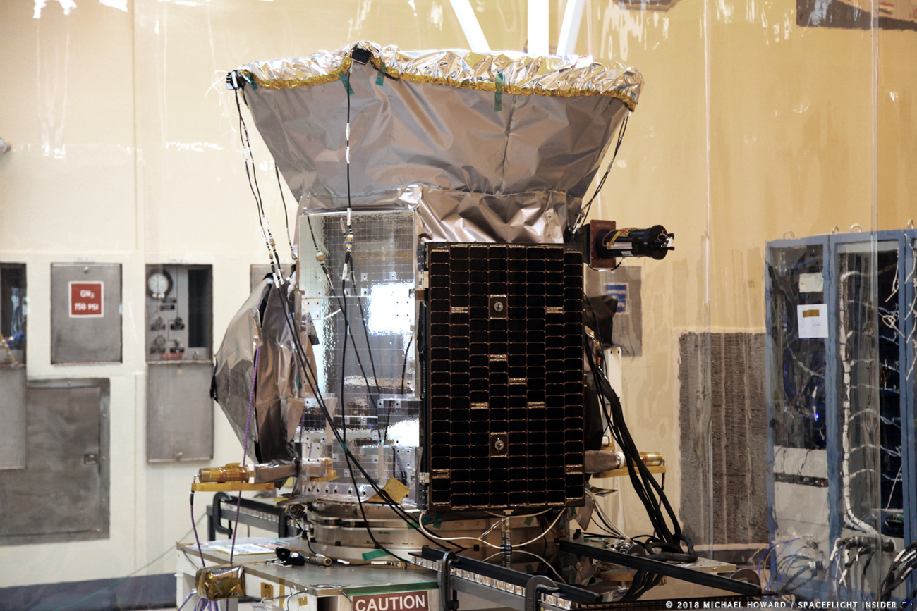 NASA's Transiting Exoplanet Survey Spacecraft (TESS) is being readied for a planned April 16, 2018 launch date. Photo Credit: Mike Howard / SpaceFlight Insider