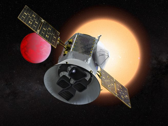 An artist's depiction of NASA's TESS spacecraft. Image Credit: NASA