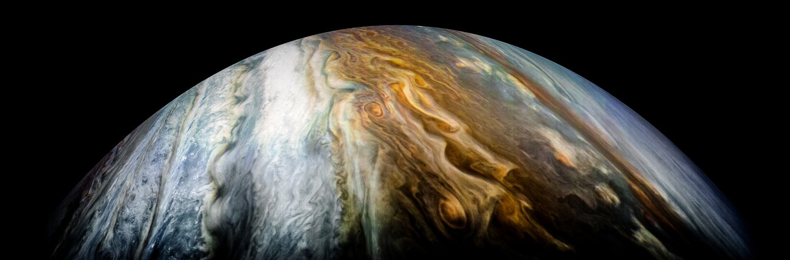 Jupiter's South Tropical Zone seen during Juno Perijove 10 on Dec. 16 2017. Photo Credit: Kevin Gill / NASA / JPL-Caltech / SwRI / MSSS