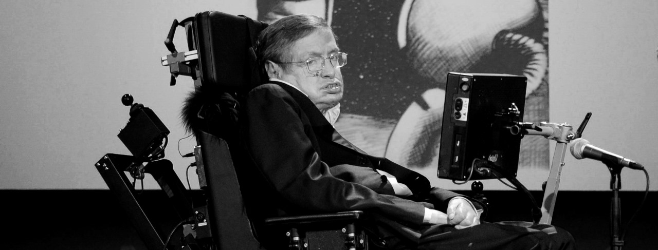 Stephen Hawking while speaking at an event on NASA's 50th anniversary in 2008. Photo Credit: NASA