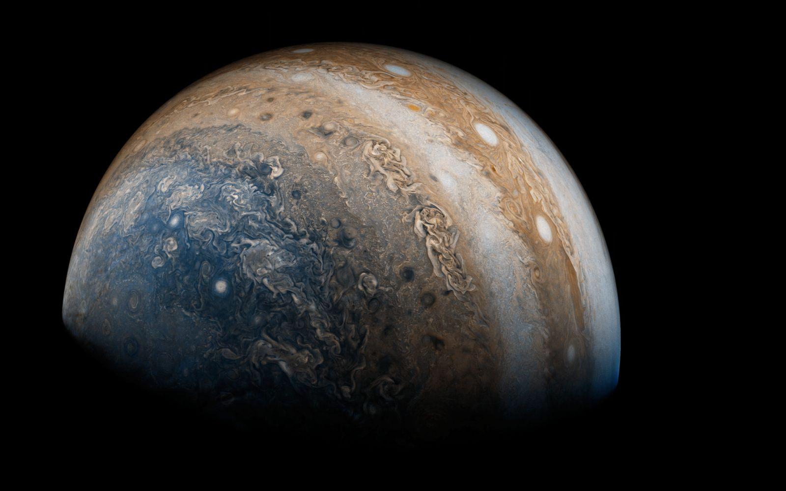 JunoCam images Jupiter's Southern Hemisphere. Photo Credit: Justin Cowart / Gerald Eichstadt / NASA / JPL / MSSS