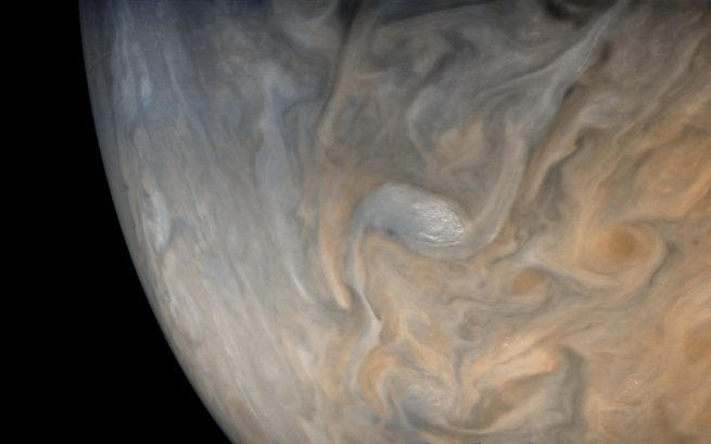 "This processed JunoCam image shows a ""swirl and convective system"" in Jupiter's North Temperate Belt. Photo Credit: Justin Cowart / Gerald Eichstadt / NASA / JPL / MSSS"