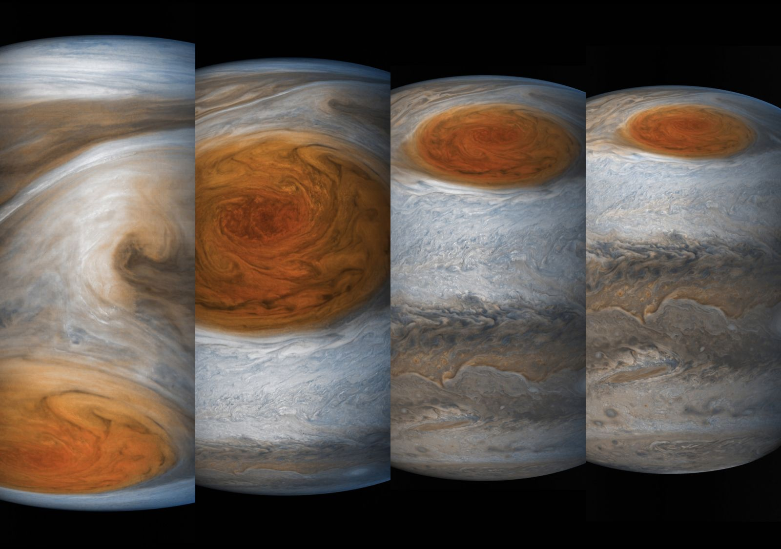 A sequence of photos of the Great Red Spot. Photo Credit: Sean Doran / Gerald Eichstadt / NASA / SwRI / MSSS