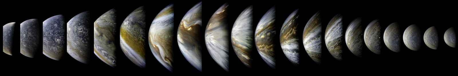 An overview of Juno's 10th perijove. Photo Credit: Kevin Gill / NASA / JPL-Caltech / SwRI / MSSS