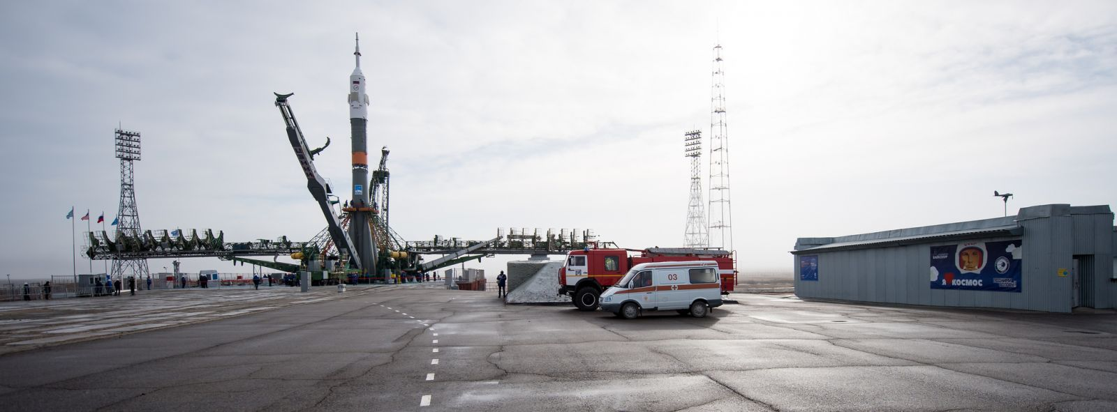 The Soyuz-FG rocket with Soyuz MS-08 stands at the launch pad at Baikonur Cosmodrome. Photo Credit: Joel Kowsky / NASA