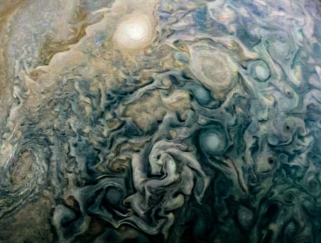 Cloud swirls on Jupiter. Taken by Juno's JunoCam instrument on Dec. 16, 2017. Photo Credit: Sophia Nasr / NASA / SwRI / MSSS