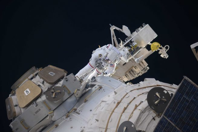NASA astronaut Drew Feustel installs antennas on the Tranquility module. Photo Credit: Oleg Artemyev / Roscosmos
