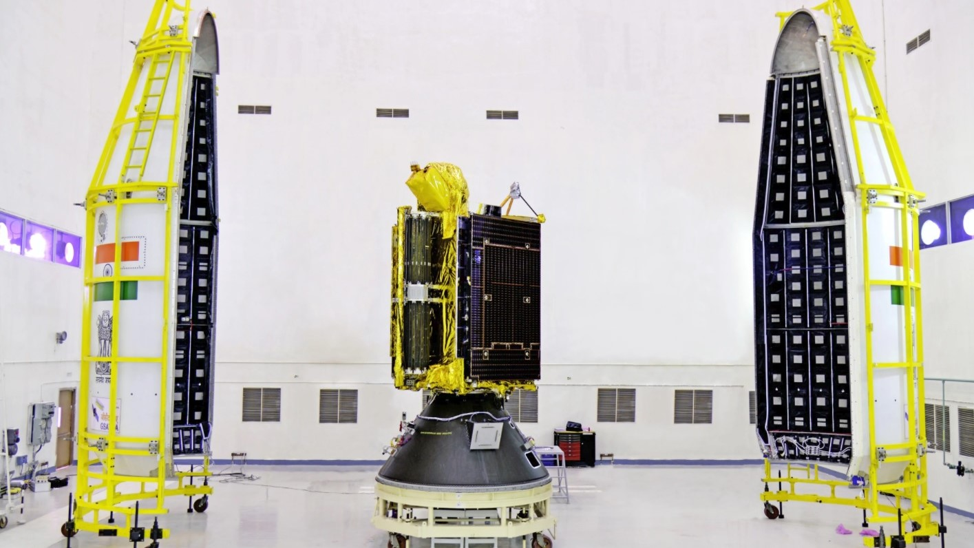 The GSAT-6A satellite awaits being encapsulated into the payload fairing of the GSLV rocket. Photo Credit: ISRO