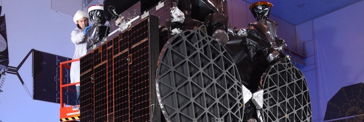 GovSat-1 in the clean room. Photo Credit: Orbital ATK