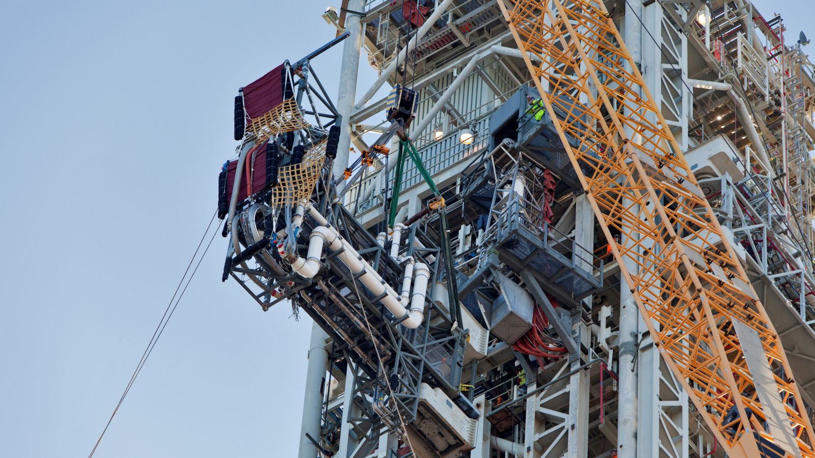 The ICPS umbilical is installed on NASA's SLS mobile launcher. Photo Credit: Ben Smegelsky / NASA