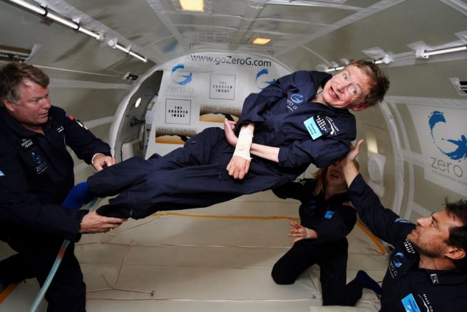 In 2007, Stephen Hawking experienced weightlessness. Using a Boeing 727 flying in parabolic arcs, Zero Gravity Corporation provided the physicist the experience of zero-g in multiple 30-second increments. Photo Credit: NASA
