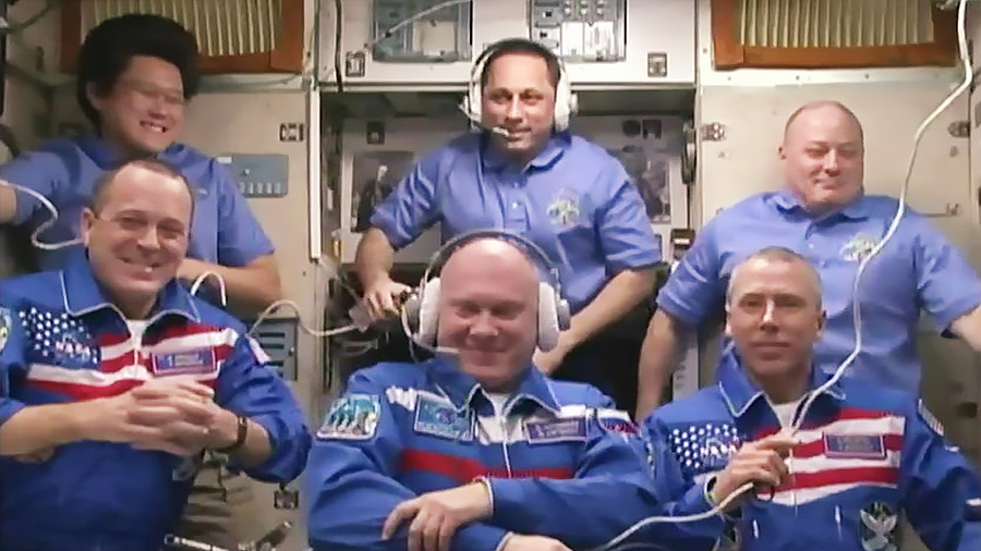 The full Expedition 55 crew. Photo Credit: NASA TV