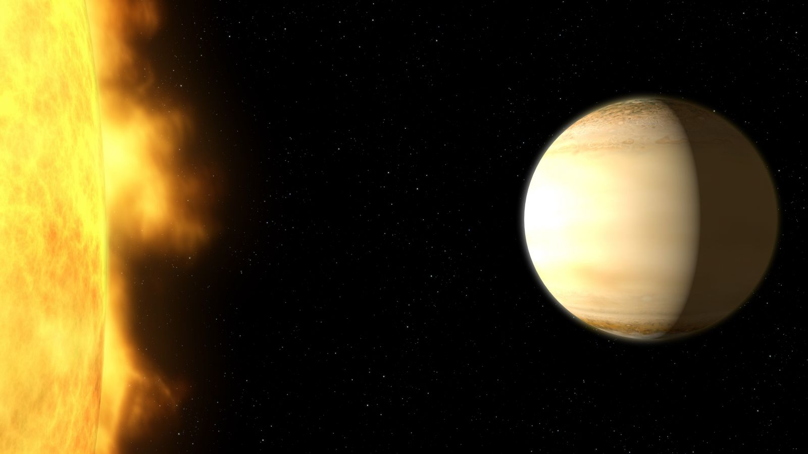 An artist's depiction of WASP-39b and its parent star. They are located some 700 light-years from Earth. Image Credit: NASA / ESA / G. Bacon and A. Feild / H. Wakeford