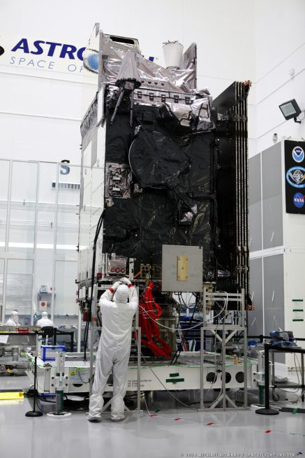 The GOES satellite is based off of Lockheed Martin's A2100A platform and is designed to operate for an estimated 15 years. Photo Credit: Mike Howard / SpaceFlight Insider