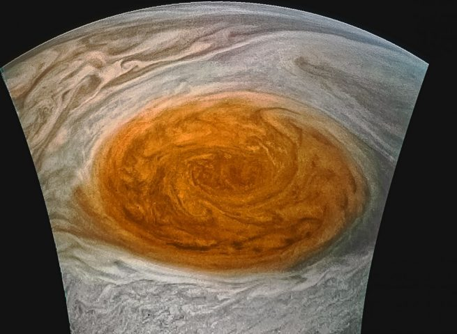 Jupiter's Great Red Spot as seen by JunoCam on July 10, 2017. Photo Credit: Jason Major / NASA / SwRI / MSSS