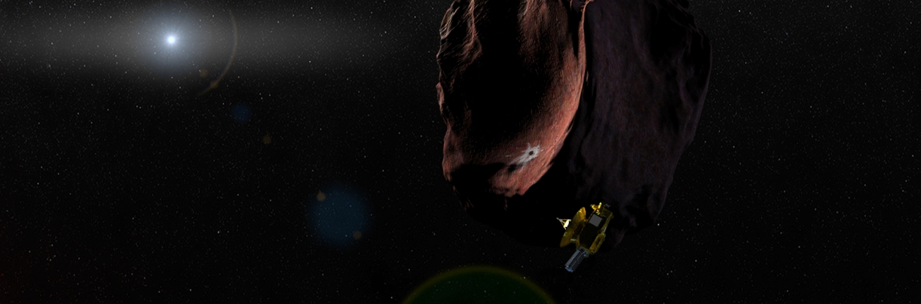 "Artist's impression of NASA's New Horizons spacecraft encountering 2014 MU69, a Kuiper Belt object that orbits one billion miles beyond Pluto, on Jan. 1, 2019. With public input, the team has selected the nickname ""Ultima Thule"" for the object, which will be the most primitive and most distant world ever explored by spacecraft. Image Credit: NASA/JHUAPL/SwRI"
