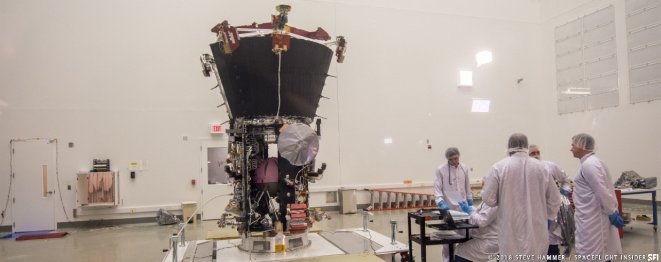 The Parker Solar Probe in the cleanroom at NASA's Goddard Space Flight Center in Maryland. Photo Credit: Steve Hammer / SpaceFlight Insider