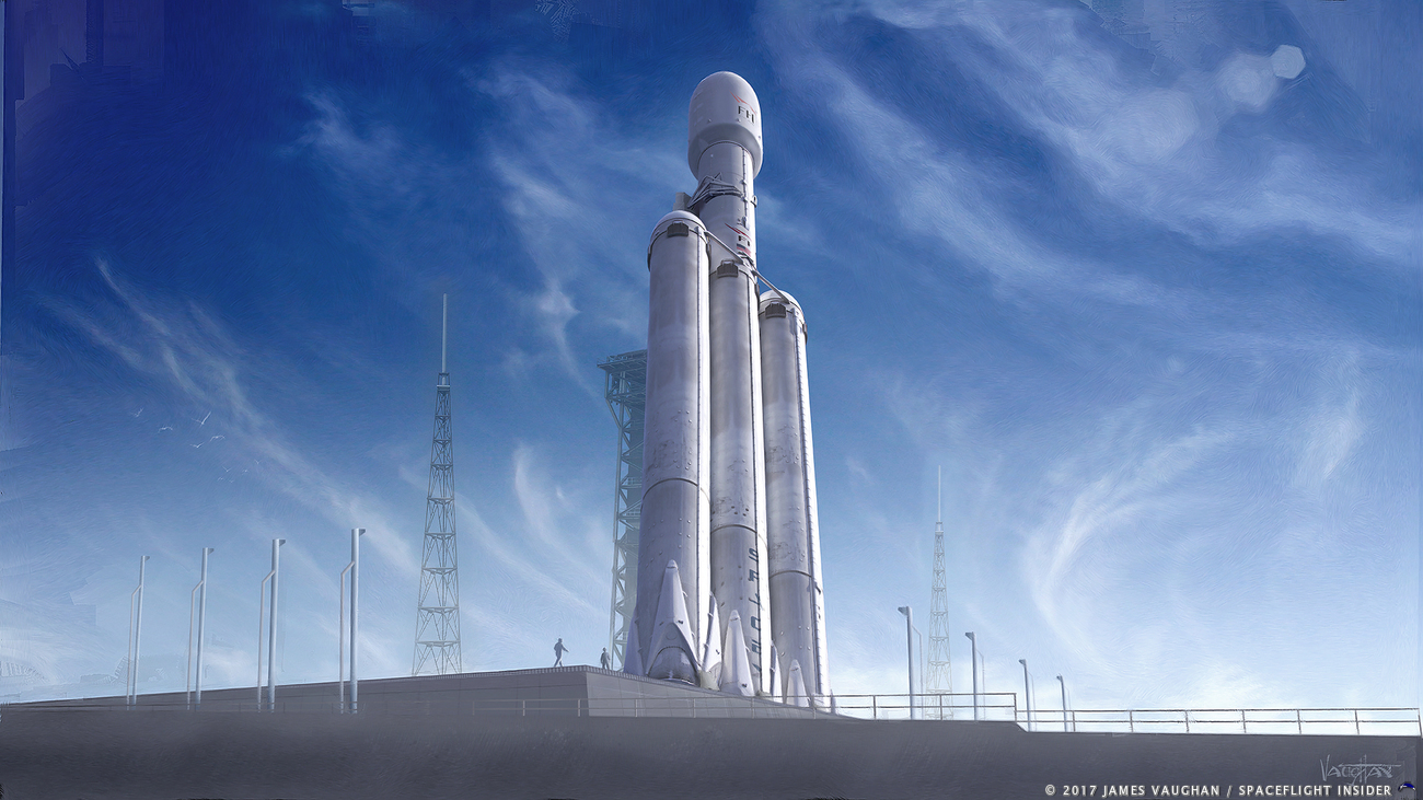An artist's depiction of a SpaceX Falcon Heavy rocket. Image Credit: James Vaughan / SpaceFlight Insider