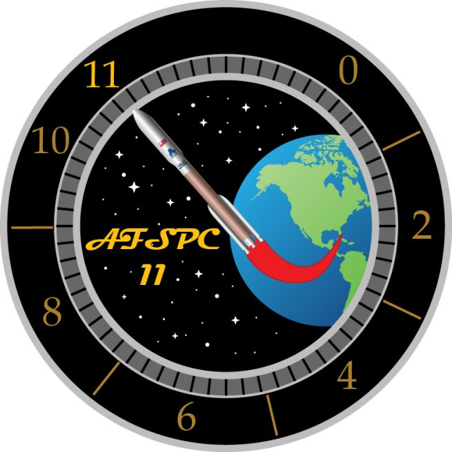 Mission logo for AFSPC-11, with the Atlas V pointed to the '11' spot on the dial as a reference from 'This is Spinal Tap'. Image credit: U.S. Air Force