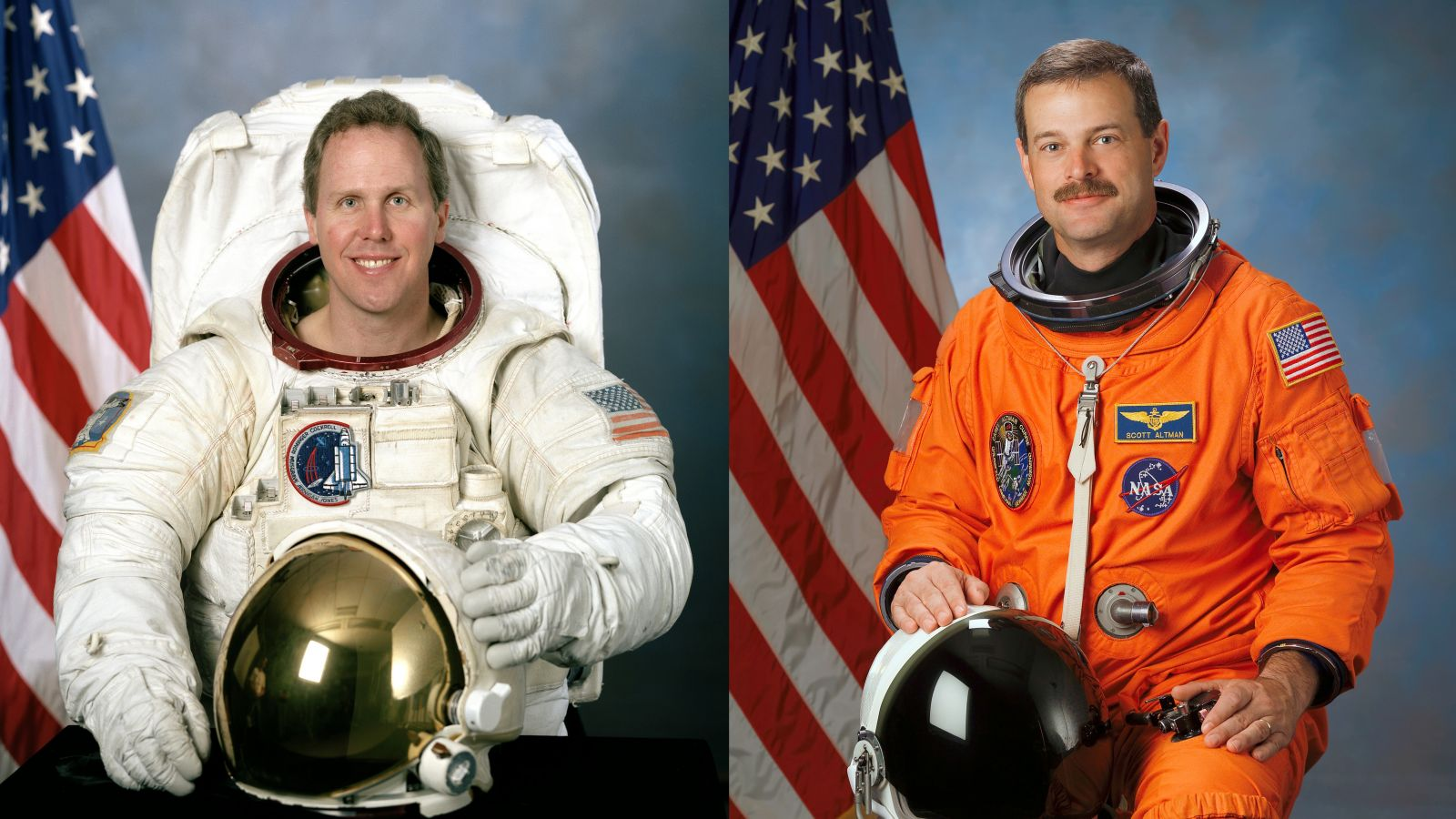 Space Shuttle Mission Specialist Thomas Jones, left, and Space Shuttle Commander Scott Altman. Photo Credit: NASA
