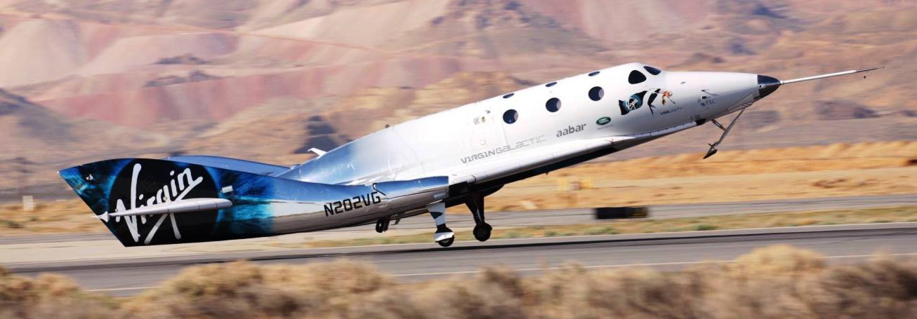 On Thursday, April 5, 2018 The SpaceShip Company's VSS Unity spacecraft conducted a powered flight, the first for this model of spacecraft since 2014. Photo Credit: The SpaceShip Company