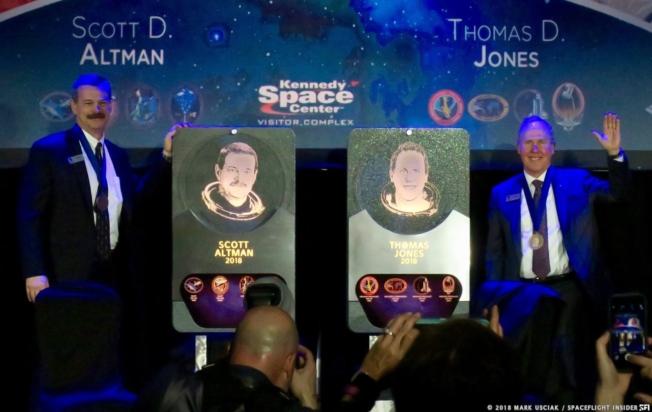 Astronauts Scott Altman, left and Thomas Jones were inducted into the U.S. Astronaut Hall of Fame. Photo Credit: Mark Usciak / SpaceFlight Insider