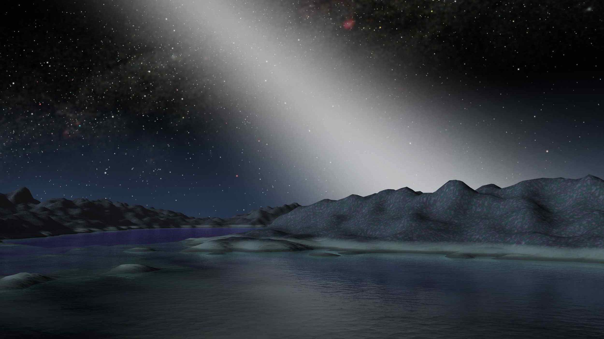 This artist's illustration shows what the sky might look like from a planet in a particularly dusty star system. Dust that orbits a star in the plane of the system is called zodiacal dust, and the light reflected and scattered by that dust is called zodiacal light. Image Credit: NASA / JPL-Caltech