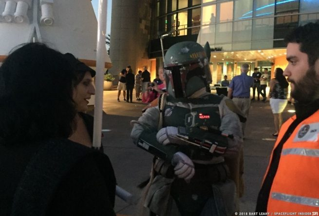 "This attendee came dressed as Boba Fett from the ""Star Wars"" film franchise. Many guests dressed up in costumes of characters from various films, including those from ""Star Wars,"" and ""Star Trek."" Photo Credit: Bart Leahy / SpaceFlight Insider"