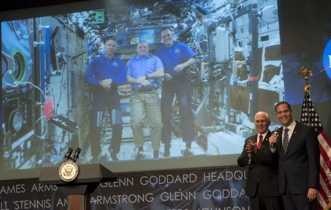 The three NASA astronauts currently residing aboard the ISS spoke with the vice president and the agency's new administrator via a video call. Photo Credit: Bill Ingalls / NASA