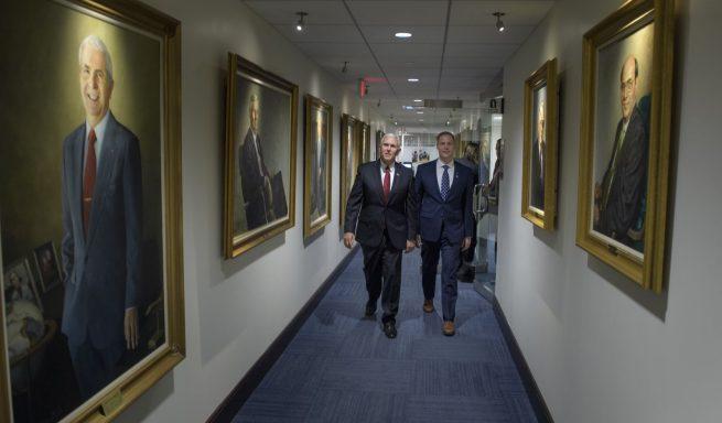 Pence, left and Bridenstine walk to Bridenstine's office at NASA headquarter's in Washington. Photo Credit: Bill Ingalls / NASA