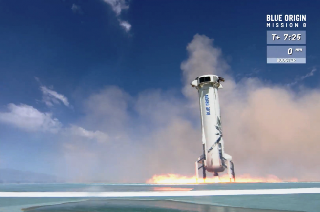 New Shepard soared aloft atop a single BE-3 engine some seven seconds after engine ignition and through Max Q in less than a minute. Image Credit: Blue Origin