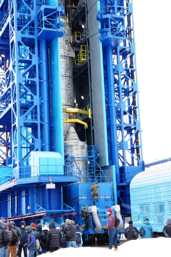 Final assembly of the Rokot launcher on the launch pad