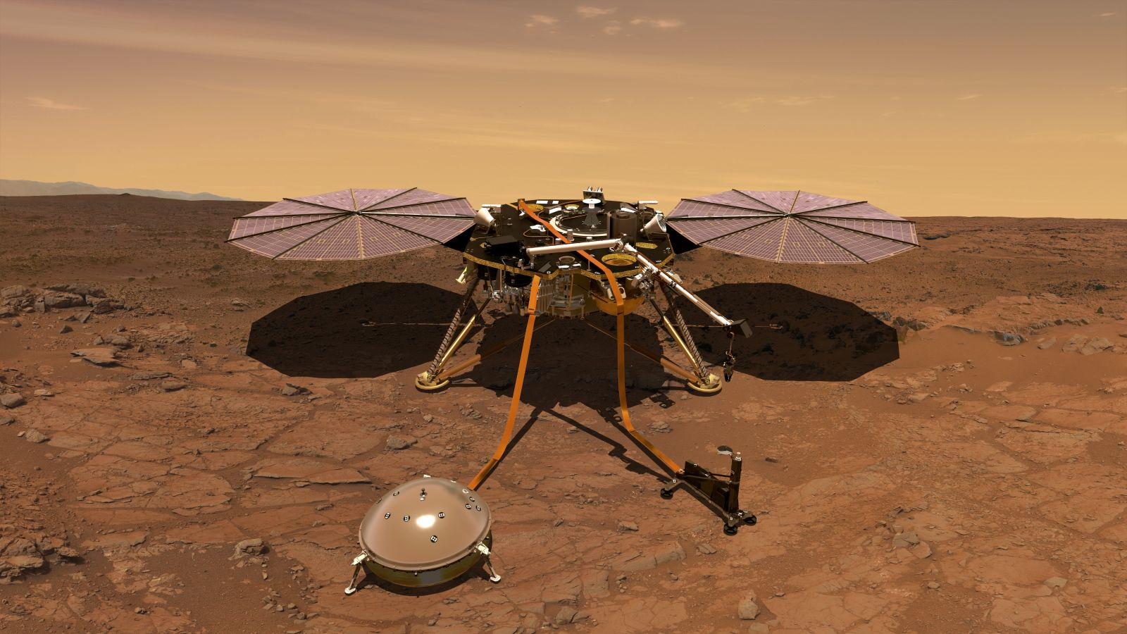 An artist's rendering of InSight on the surface of Mars with the SEIS and HP3 instruments deployed on the surface. Image Credit: NASA