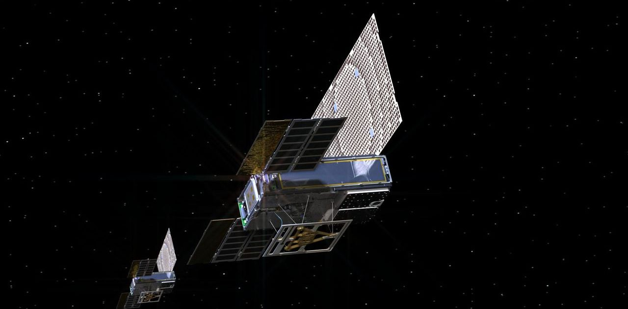 An artistic representation of the twin Mars Cube One (MarCO) spaceship as they fly through space. The MarCOs will be the first CubeSats - a kind of modular minisatellite - trying to fly to another planet. Source: NASA / JPL-Caltech