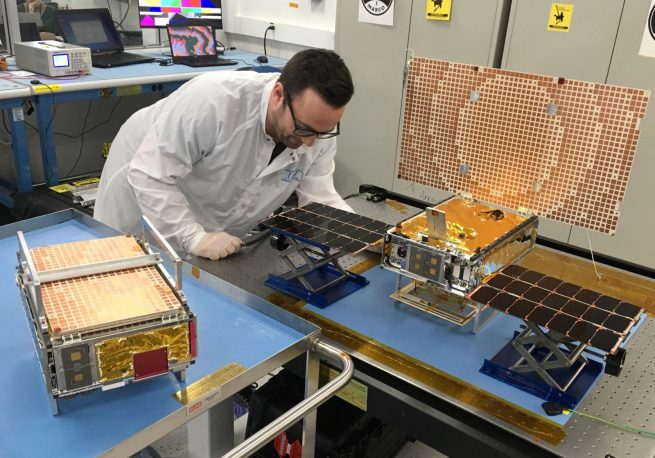 The MarCO CubeSats before being stowed and integrated with the launch vehicle. Photo Credit: NASA