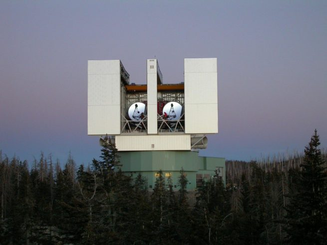 The Large Binocular Telescope Interferometer (LBTI) is a ground-based instrument connecting two eight-meter class telescopes on Mount Graham in Arizona to form the largest single-mount telescope in the world. The interferometer is designed to detect and study stars and planets outside the solar system. Photo Credit: NASA / JPL-Caltech