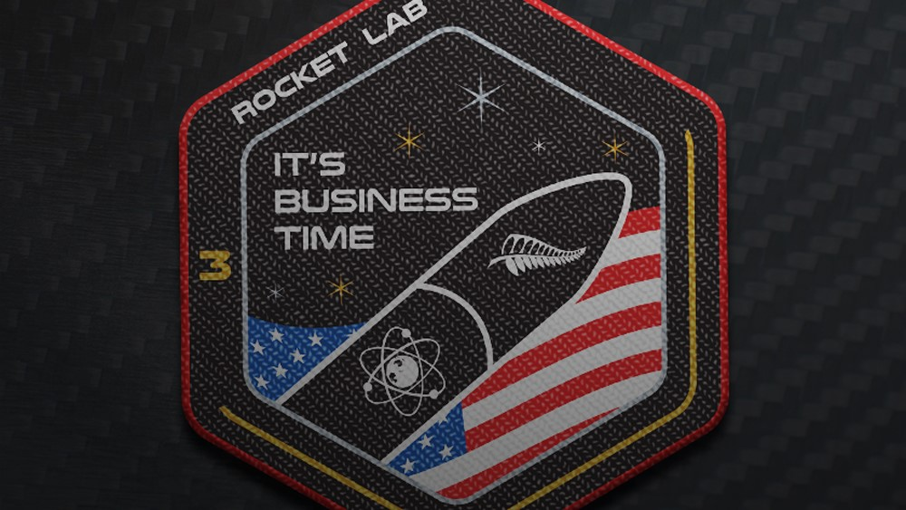 "Rocket Lab's mission patch for ""It's Business Time."" Photo Credit: Rocket Lab"