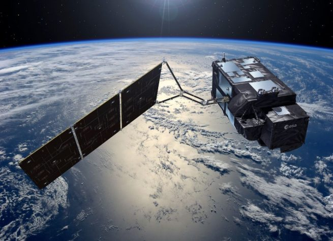 An artist's rendering of the Sentinel-3B spacecraft. Image Credit: ESA