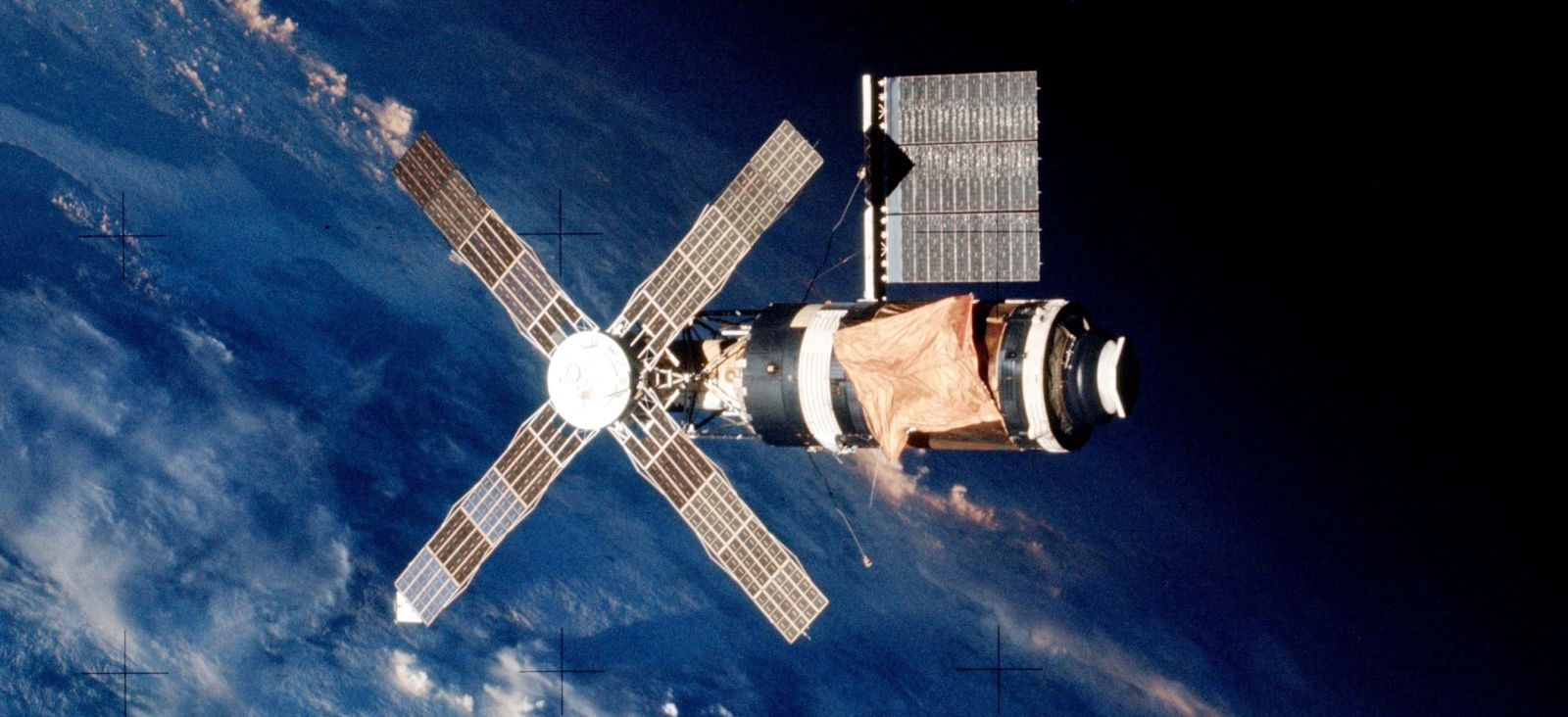 Skylab space station in orbit above Earth photo credit NASA - Copy