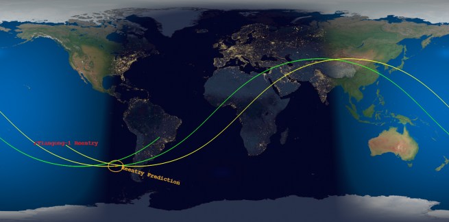 The final and predicted re-entry locations as calculated by The Aerospace Corporation. Image Credit: The Aerospace Corporation