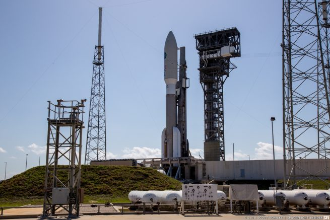 The ULA Atlas V 551 tasked with sending the AFSPC-11 mission to orbit. Photo Credit: Scott Schilke / SpaceFlight Insider