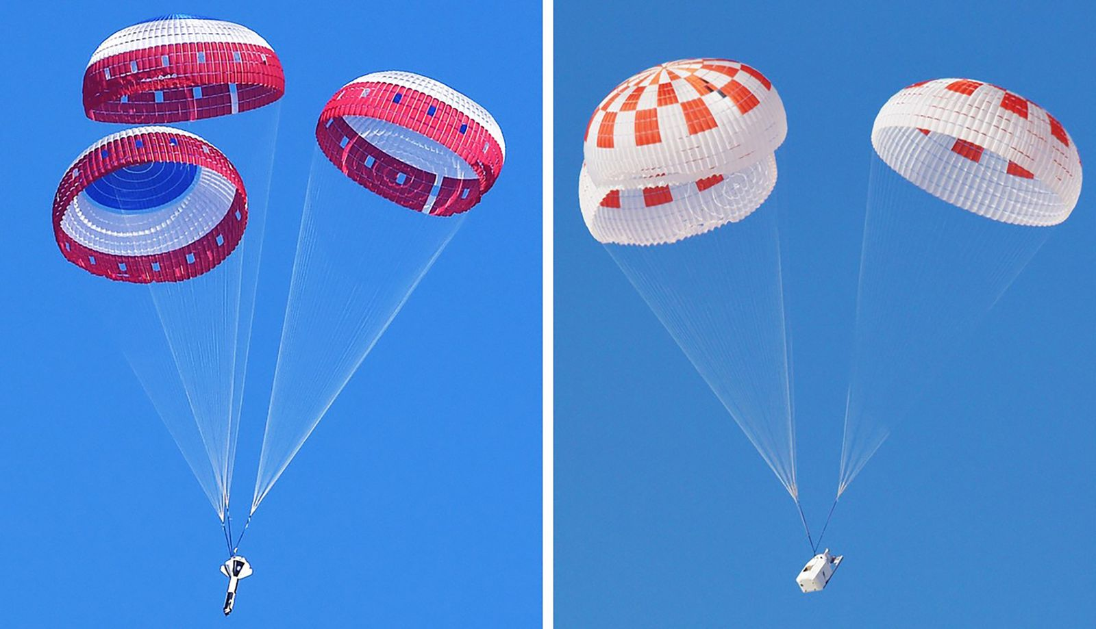 Left: Boeing performs the first in a series of parachute reliability tests for its Starliner spacecraft on Feb. 22, 2018. Photo Credit: NASA Right: SpaceX tests and off-nominal parachute deployment on March 4, 2018. Photo Credit: SpaceX