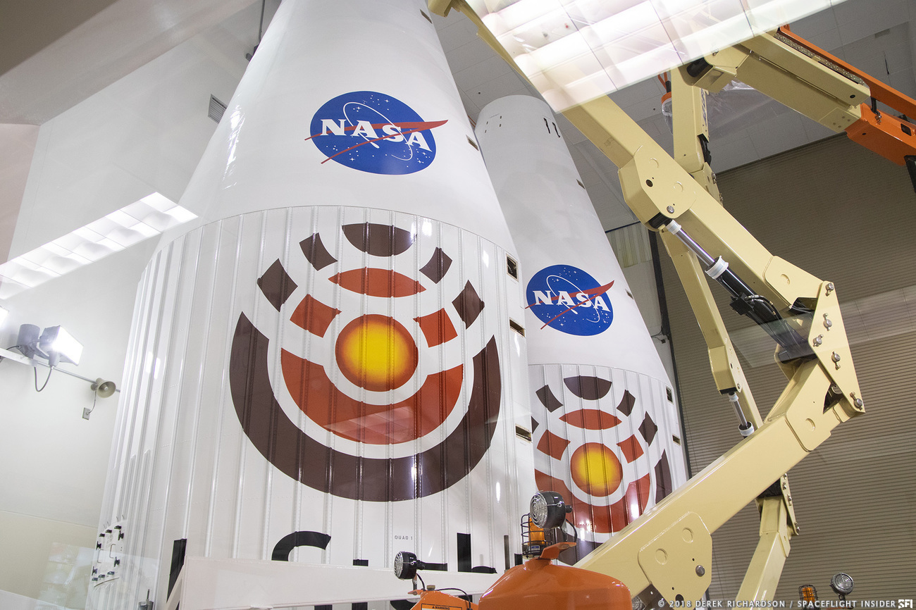 The payload fairing that will protect InSight for the first several minutes of its ascent into space. Photo Credit: Derek Richardson / SpaceFlight Insider