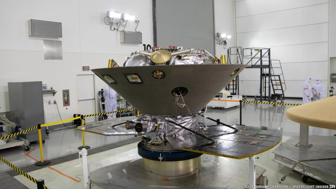 NASA's InSight Mars spacecraft in early April as it was undergoing final preparations for launch at Vandenberg Air Force Base in California. Photo Credit: Derek Richardson / SpaceFlight Insider