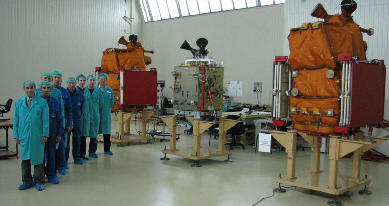 Engineers working on the BKA-1 satellite.